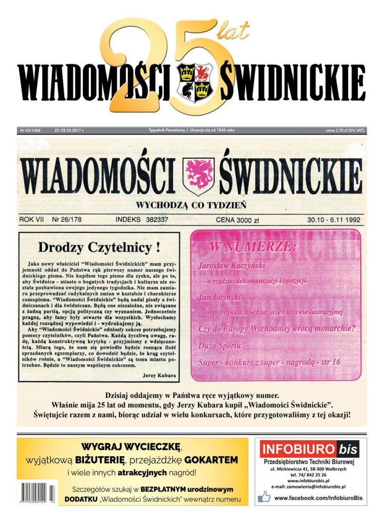 """Jubileuszowy numer """"Wiadomości Świdnickich"""" już w kioskach"""