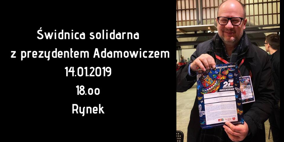 Świdnica solidarna z prezydentem Adamowiczem